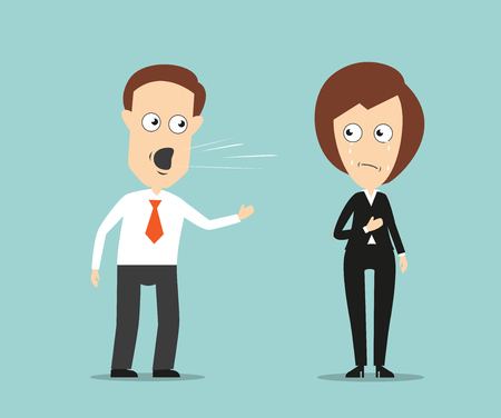 colleague: Aggressive businessman yelling at sad crying female colleague for business concept design. Cartoon flat style