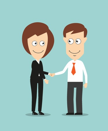 Cheerful smiling business woman and businessman shaking hands for partnership or cooperation concept design. Cartoon flat style