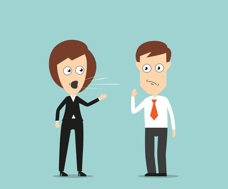 Furious female boss yelling at useless employee for business concept design. Cartoon flat style