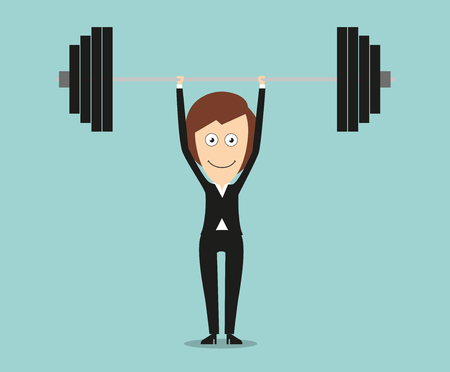 woman business suit: Strong business woman in elegant black suit lifting a barbell above head for achievements in business concept design. Cartoon flat style