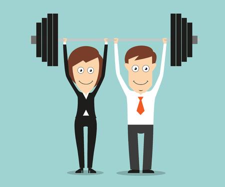 Compañeros de trabajo que llevan a cabo una pesada barra por encima de las cabezas para el diseño de trabajo en equipo o negocio de la sociedad concepto. Estilo plano de dibujos animados