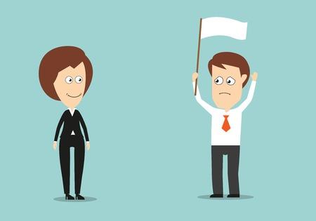 feminino: Homem de negócios com as mãos levantadas e bandeira branca admitiu a derrota em conflito com seu chefe fêmea. Estilo plano dos desenhos animados