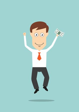 Happy businessman funny jumping with money in hand for bonus or success concept design. Cartoon flat style