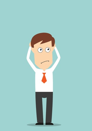 Thoughtful businessman with hands on head looking for solution of a problem. Cartoon flat style Illustration