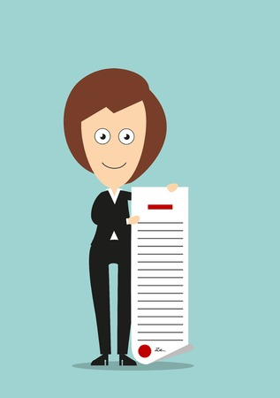 woman business suit: Happy business woman in black suit proudly showing certificate or diploma, for education or career achievement design. Cartoon flat style