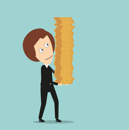 style wealth: Happy smiling business woman with high stack of gold coins in hands, for wealth or success design. Cartoon flat style