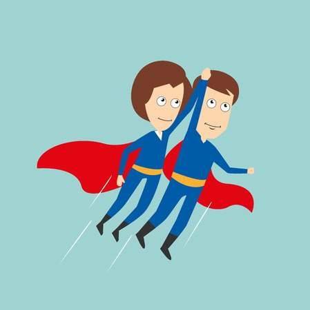 capes: Business woman and businessman in superhero costumes with red capes flying up holding hands, for super business team or partnership concept design. Cartoon flat style