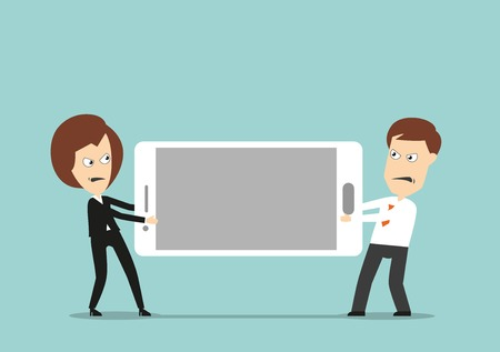 business challenge: Angry businessman and business woman fighting over huge smartphone, for corporate challenge or competition concept design. Cartoon flat style