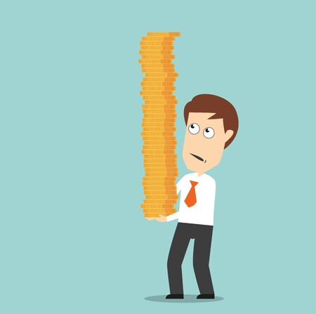carefully: Worried businessman carefully carrying pile of golden coins, trying to protect from fall, for finance or investment concept design. Cartoon flat style Illustration