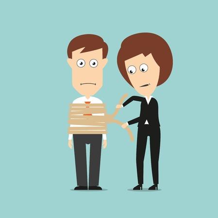 gefesselt: Business-Frau binden Geschäftsmann mit rauen Seil, um die Kontrolle oder die Beschränkung der Behörde concept design. Cartoon flachen Stil Illustration