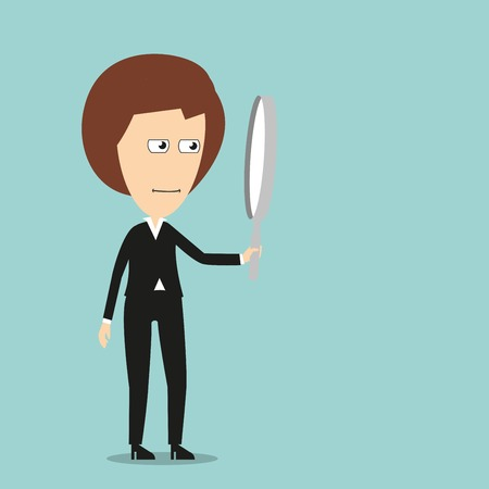 inspection: Strict business woman with magnifying glass, for inspection or search concept. Cartoon flat style Illustration
