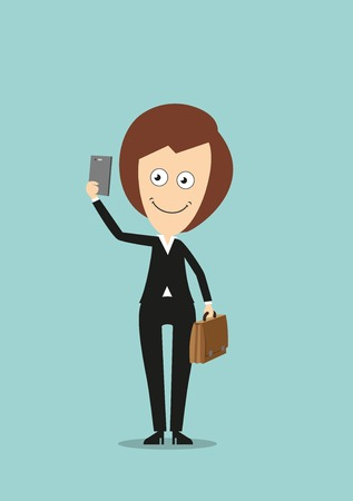 woman smartphone: Cheerful smiling business woman in black suit with briefcase making selfie shot with smartphone. Cartoon flat style