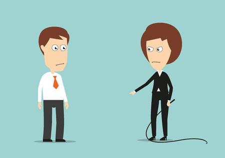 perezoso: Jefa enojado con el entrenamiento látigo empleado perezoso, por estrés o violencia en el diseño del concepto de trabajo. Estilo plano de dibujos animados