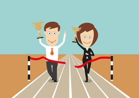 finish: Business team crossing finish line first with raised trophy cups, celebrating victory, for successful teamwork concept design. Cartoon flat style
