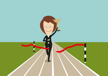 happy business woman: Happy business woman crossed finish line first and running with golden trophy in hand, for corporate challenge concept design. Cartoon flat style