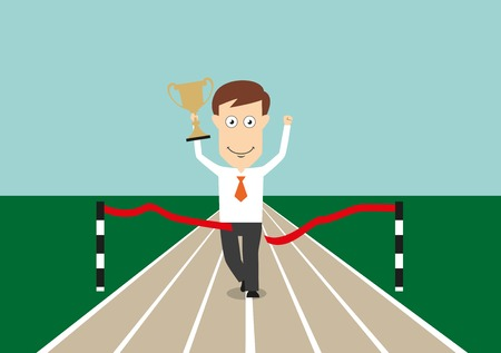 business competition: Excited businessman crossing finish line with trophy cup in hand, for business competition or success concept design. Cartoon flat style