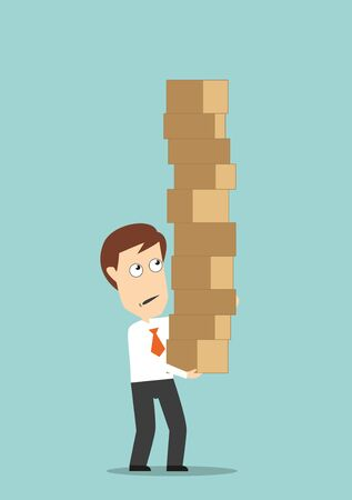 hold high: Overburdened businessman carrying a high stack of cardboard boxes, for overloading design. Cartoon flat style