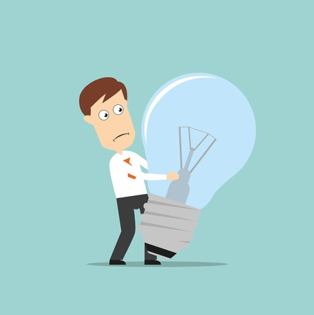 loss leader: Confused businessman carrying a big turned off idea light bulb, for failed idea concept design. Cartoon flat style Illustration