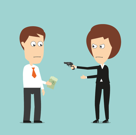 extortion: Business woman threatening with a gun and extorts money from colleague, for extortion or blackmail concept design. Cartoon flat style