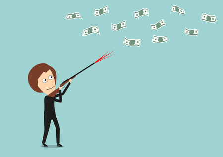 hunting rifle: Business woman hunts for flying money with hunting rifle, for financial concept design. Cartoon flat style