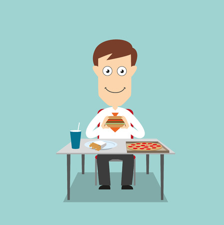 Businessman sitting at table and eating fast food lunch with pizza, hamburger, french fries and soda. Cartoon flat style