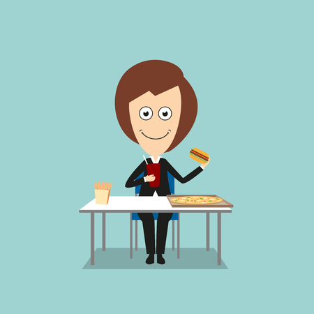 hungry: Smiling business woman sitting at table with pizza and french fries boxes and eating fast food hamburger with sweet drink. Cartoon flat style