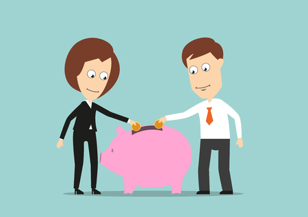 save money: Smiling businessman and business woman putting golden coins in piggy bank, for teamwork or investment fund concept design. Cartoon flat style
