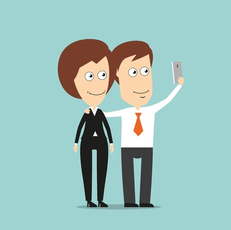 happy business woman: Happy businessman and business woman taking selfie portrait together with mobile phone, for social media concept design. Cartoon flat style
