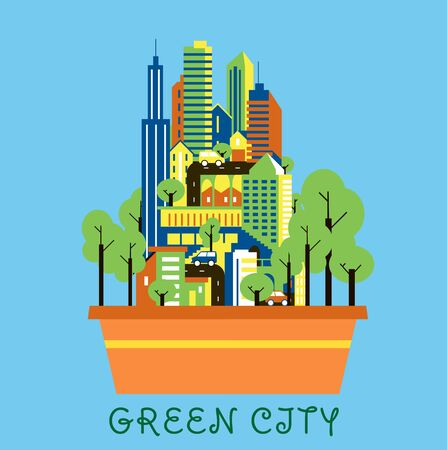 urban background: Green city eco concept showing flower pot with modern urban landscape of colorful skyscrapers, cars and green trees on streets over cyan background