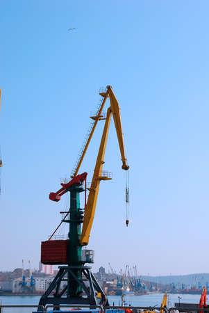 Crane loading cargo in the port Stock Photo