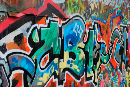 Colorful graffiti on the wall as a nice background Stock Photo