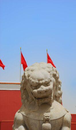 Forbidden City: Stone lion near the entrance to Forbidden City Stock Photo