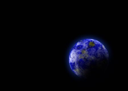 the blue planet: Blue planet on the black background (paint)
