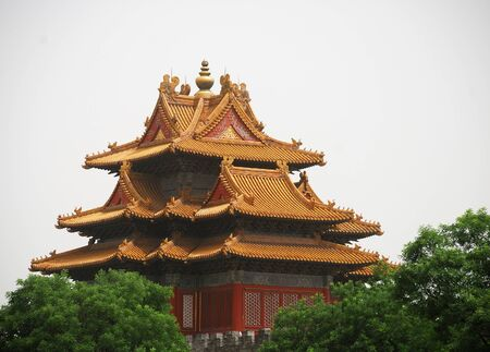 Forbidden City: Beautiful ancient temple in the corner of Forbidden City Editorial