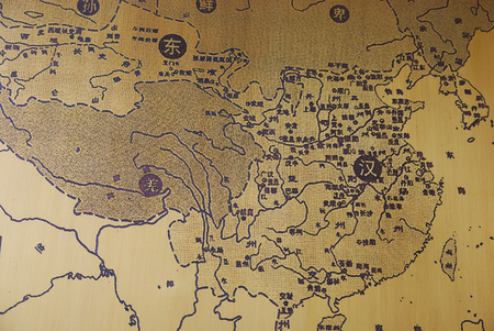Map of China on the metal as a background 報道画像