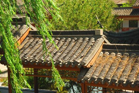 traditional house: Roof of ancient chinese house in the garden