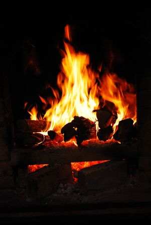 hotter: Burning flame in heater as a backgound