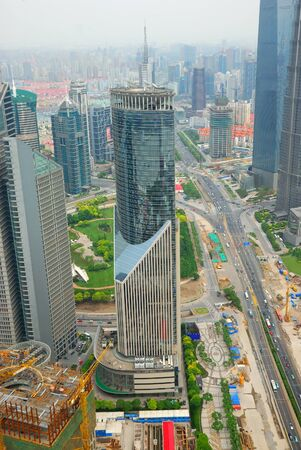 pudong district: Bird eye view of Pudong district in Shanghai Editorial