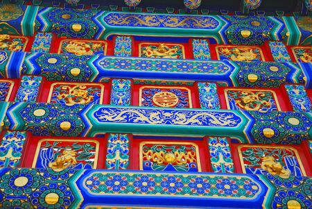 chinese ethnicity: Colorful elements of beautiful chinese roof of temple