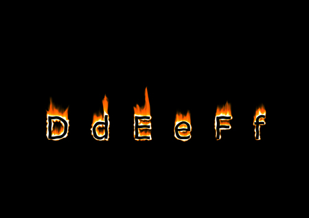 hotter: Letters D, E, F of alphabet in fire