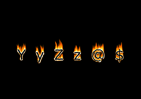 hotter: Letters and symbols of alphabet in fire Stock Photo