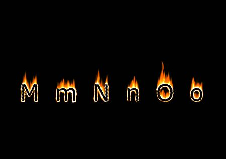 Letters M, N, O of alphabet in fire Imagens