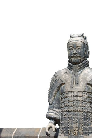 Isolated old chinese stone warrior on the white background