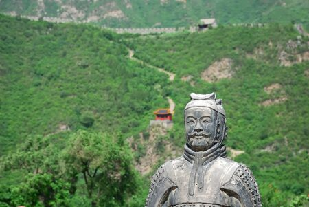 Old chinese stone warrior near the Great Wall