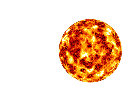 Burning planet isolated on the white background