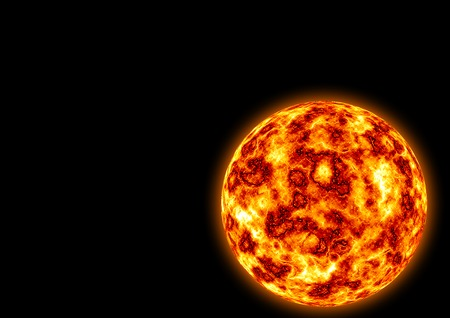Burning planet isolated on the black background