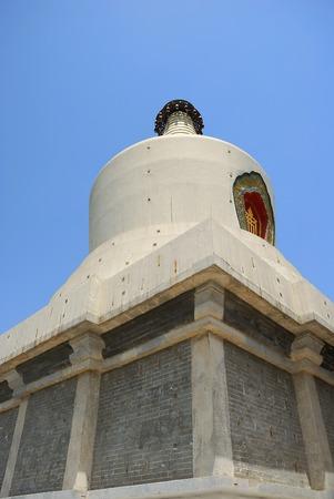 Close-up China White Dagoba on the Qionghuadao