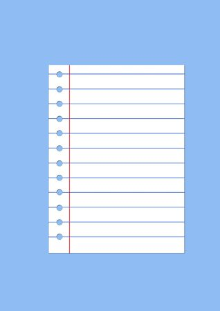 Isolated sheet of notebook paper on the blue background