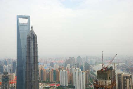 Landscape of coast Huangpu in bird eye view
