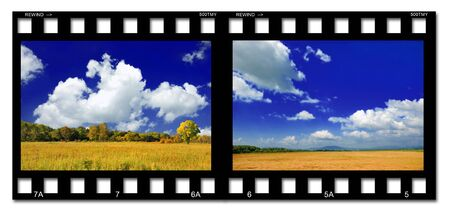 Colorful film with landscapes on the white background